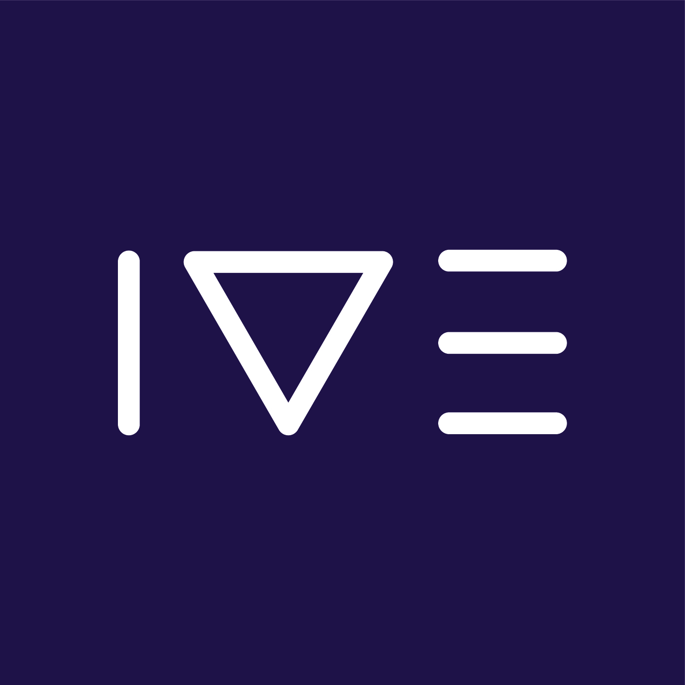 A company logo with three shapes which look like the letters i, v and e.